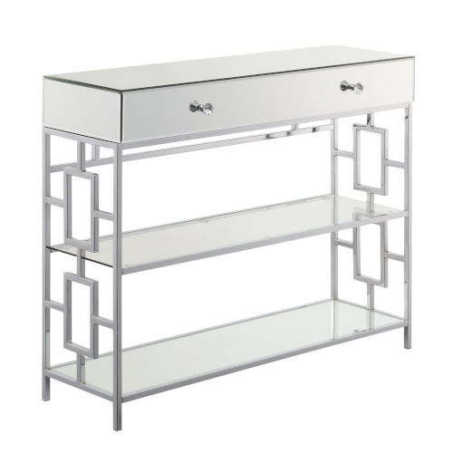 Town Square Mirror, Glass and Chrome Single Drawer Mirrored Console Table