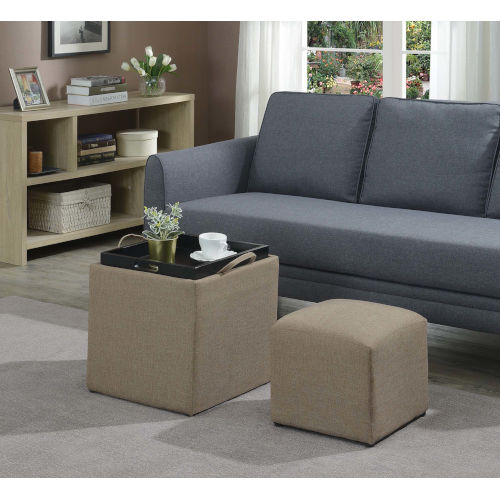Designs 4 Comfort Tan Fabric 18-Inch Ottoman with Stool
