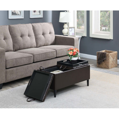 Designs 4 Comfort Espresso Faux Leather 16-Inch Storage Ottoman with Trays