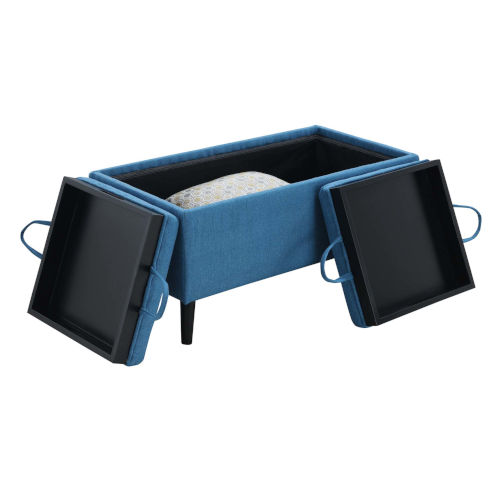 Designs 4 Comfort Soft Blue Fabric MDF Magnolia Storage Ottoman with Trays
