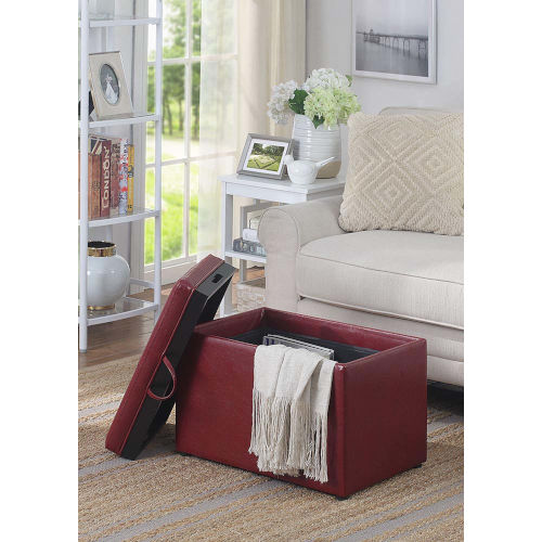 Designs4Comfort Burgundy Faux Leather 16-Inch Storage Ottoman