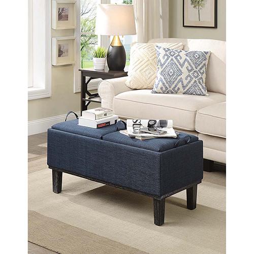 Designs4Comfort Blue Brentwood Storage Ottoman