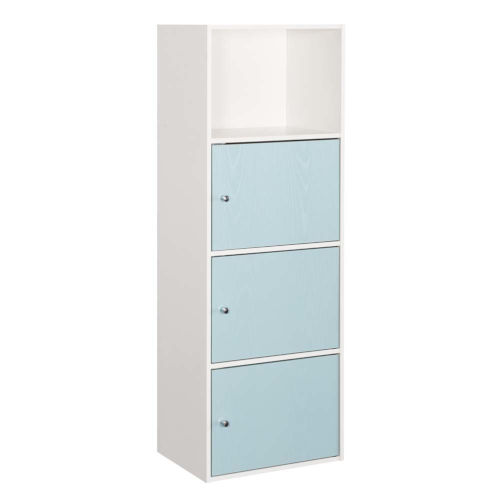 White and Sea Foam 47-Inch Xtra Storage Three Door Cabinet