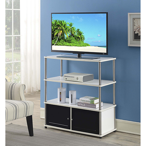 Designs2Go White Highboy TV Stand with Black Doors
