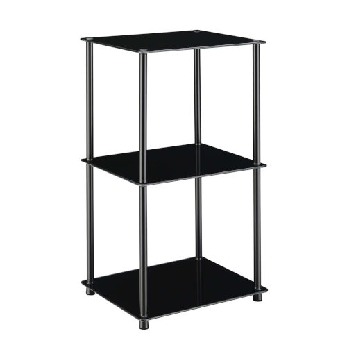 Designs2Go Classic Black Three-Tier Bookshelf
