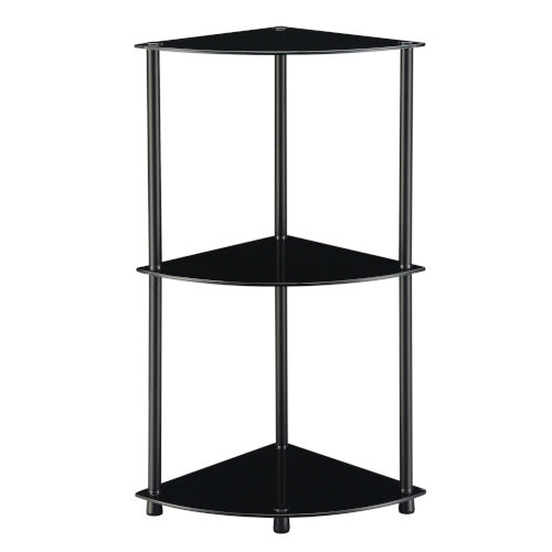 Designs2Go Classic Black Three-Tier Corner Shelf
