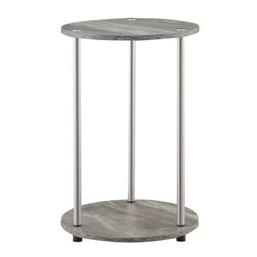 Design2Go Faux Gray Marble and Chrome Two-Tier Round End Table