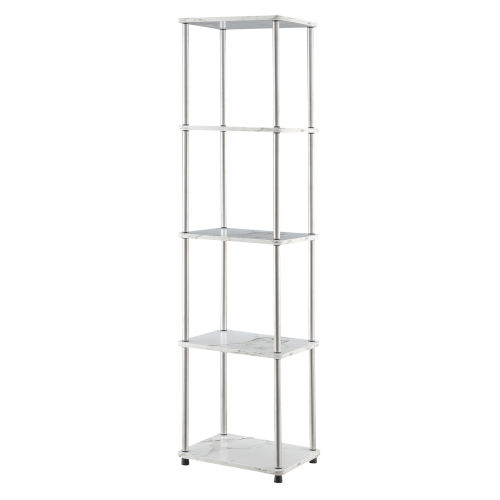 Design2Go Faux White Marble and Chrome Five-Tier Tower