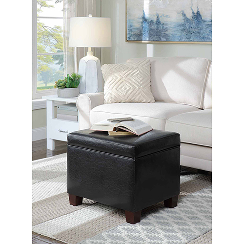 Designs4Comfort Black Madison Storage Ottoman