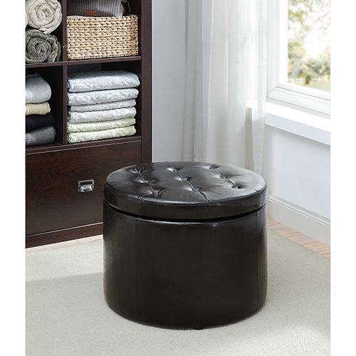 Designs4Comfort Black Round Shoe Ottoman