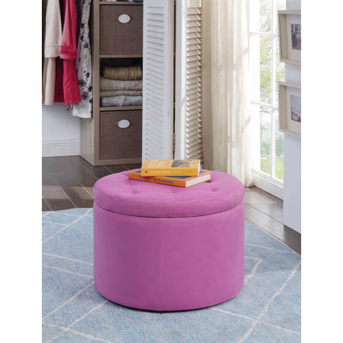 Designs 4 Comfort Pink Faux Suede 22-Inch Round Shoe Ottoman