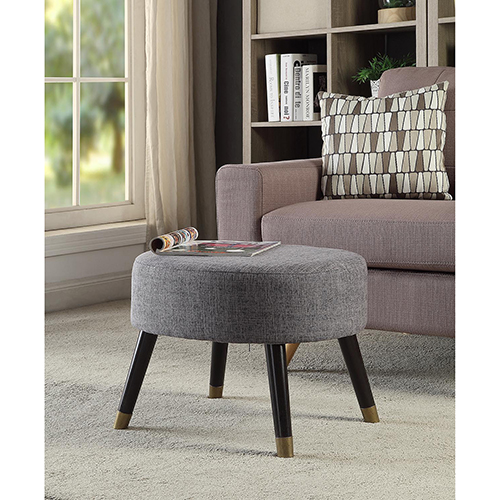 Convenience Concepts Designs4Comfort Gray Mid Century Ottoman Stool