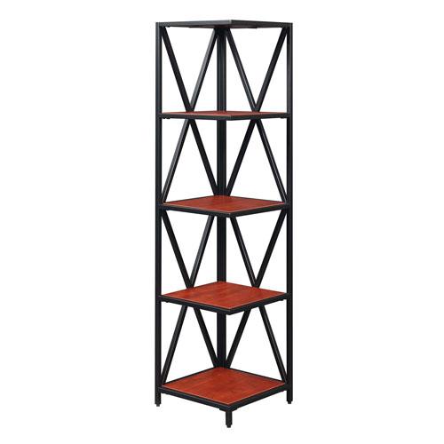 Tucson Cherry and Black 13-Inch Five Tier Corner Bookcase
