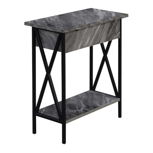 Tucson Gray and Black Flip Top End Table with Charging Station