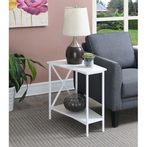Tucson White 16-Inch Wedge End Table