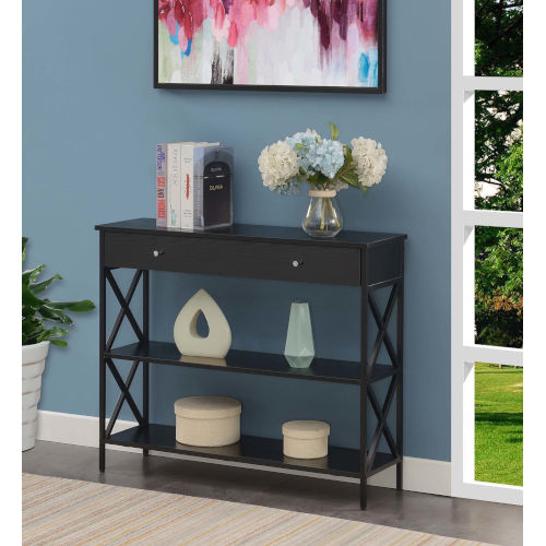 Tucson Black Single Drawer Console Table