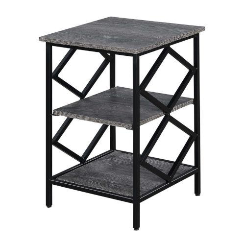 Diamond Weathered Gray Black Metal End Table
