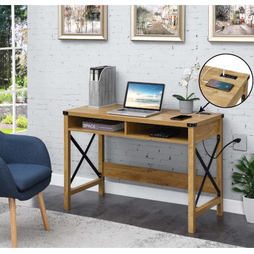 Durango English Oak Black Office Desk