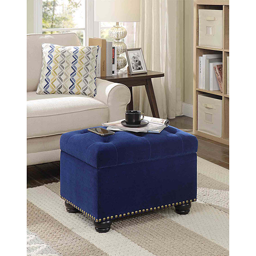 Fabulous Designs4Comfort Blue Velour 5Th Avenue Storage Ottoman Short Links Chair Design For Home Short Linksinfo