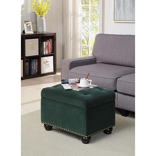 Convenience Concepts Designs4Comfort Green Velvet 5th Avenue Storage Ottoman