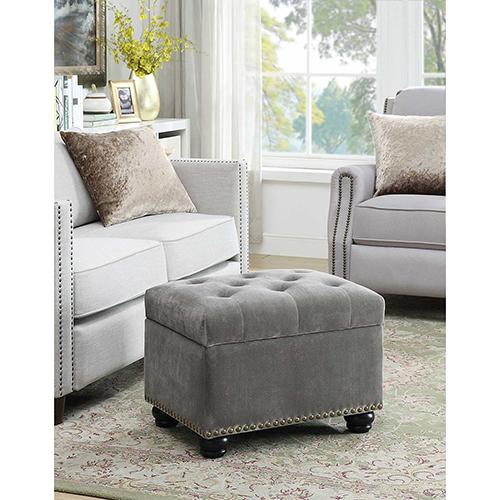 Designs4Comfort Velvet Gray 5th Avenue Storage Ottoman