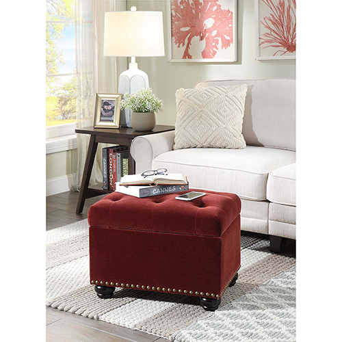 Designs4Comfort Merlot Velvet 5th Avenue Storage Ottoman
