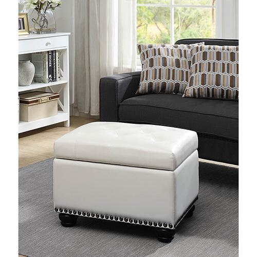 Convenience Concepts Designs4Comfort Ivory 5th Avenue Storage Ottoman