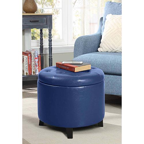 Designs4Comfort Blue Faux Leather Round Ottoman