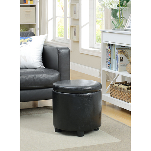 Convenience Concepts Designs4Comfort Black Round Accent Storage Ottoman