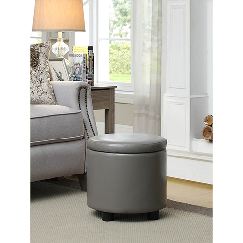 Designs4Comfort Gray Round Accent Storage Ottoman