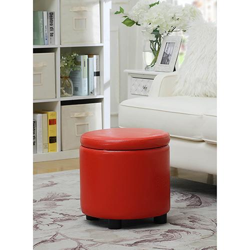 Designs4Comfort Red Round Accent Storage Ottoman