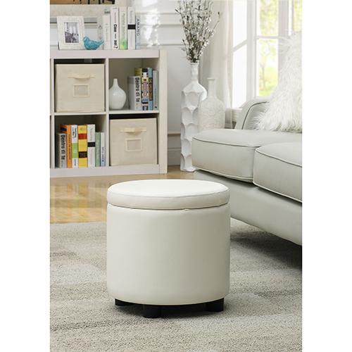 Designs4Comfort White Round Accent Storage Ottoman