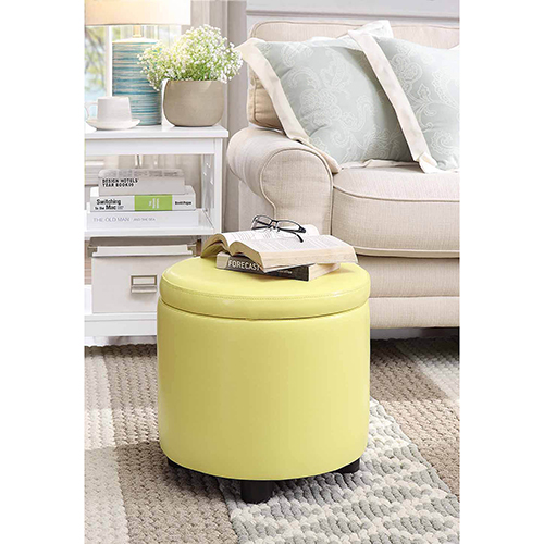 Convenience Concepts Designs4Comfort Yellow Round Accent Storage Ottoman