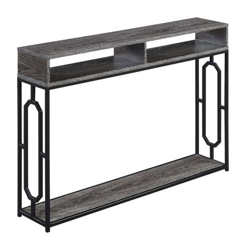Omega Weathered Deluxe Gray and Black Console Table