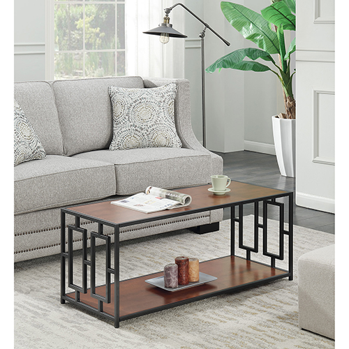 Town Square Cherry and Black Metal Frame Coffee Table