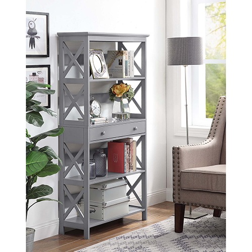 Oxford Gray Five Tier Bookcase with Drawer