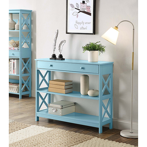 Convenience Concepts Oxford Sea Foam One Drawer Console Table