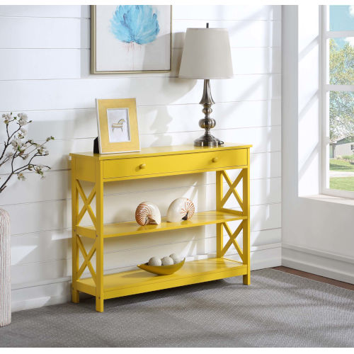 Oxford Yellow One Drawer Console Table with Shelves
