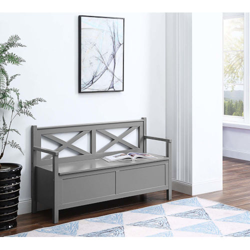 Oxford Gray Storage Bench