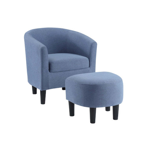 Take a Seat Blue Linen Churchill Accent Chair with Ottoman