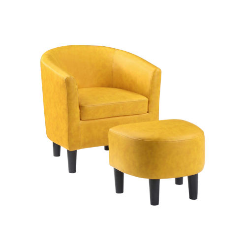 Take a Seat Yellow Faux Leather Churchill Accent Chair with Ottoman
