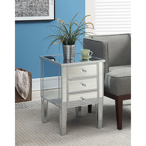 Gold Coast Silver Three Drawer Mirrored End Table
