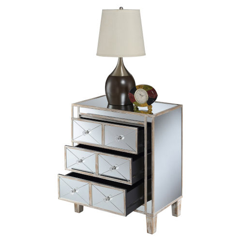 Gold Coast Mirror Weathered White BettyB Mirrored End Table
