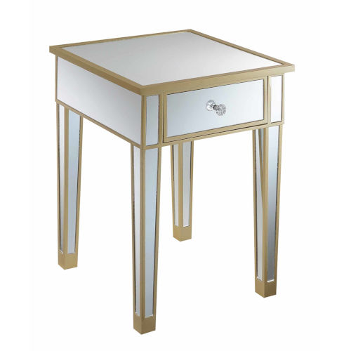 Gold Coast Champagne Mirror Mirrored End Table with Drawer