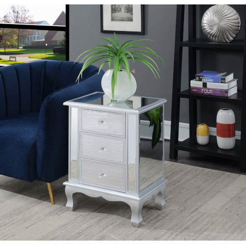Gold Coast Mirrored End Table with Three Drawer