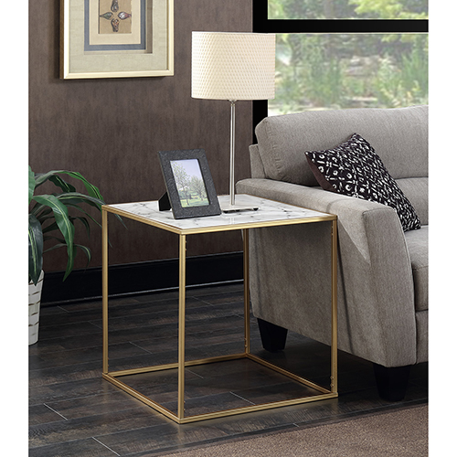 Convenience Concepts Gold Coast Faux Marble End Table 413445m Bellacor