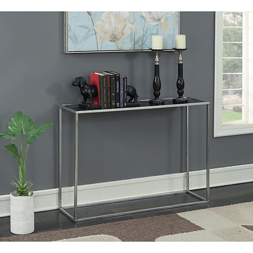 Convenience Concepts Gold Coast Black Faux Marble Console Table