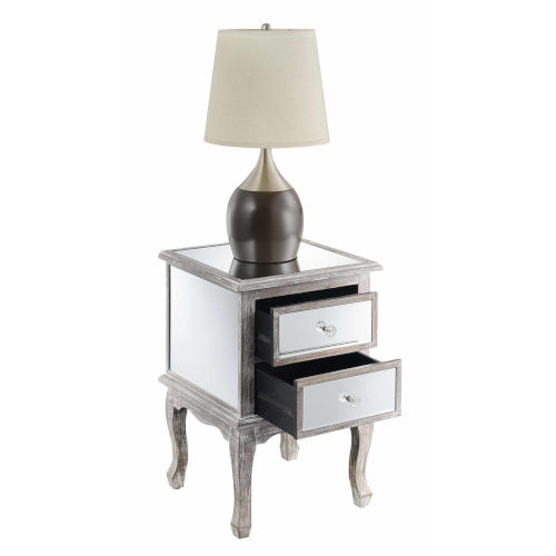 Gold Coast Mirror Silver Victoria Mirrored End Table