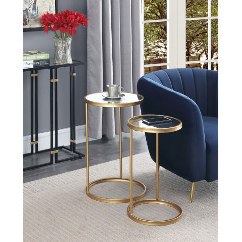 Gold Coast Gold Mirrored Nesting End Table Set of Two