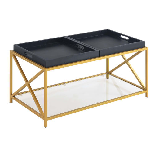 St. Andrews Black Gold Powder Coated Metal Coffee Table